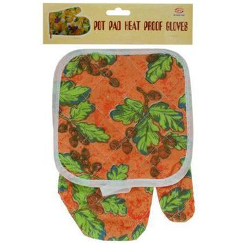 Quilted Floral & Fruit Print Oven Mitt & Pot Holder Set (Available in a pack of 24)