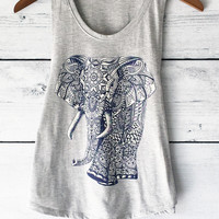 Elephant Tank Top in Grey with Ornate Tribal Print