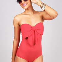 Bow Bust Body Suit | Trendy Clothes at Pink Ice