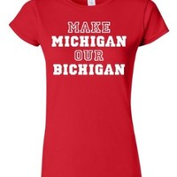 Junior Make Michigan Our Bichigan Adult Red T-Shirt Tee (XX-Large)