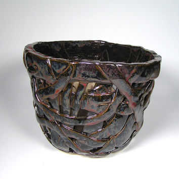 Large #OrchidPlanter with Brown and Red Glaze, Wabi Sabi Cachepot, Basket Planter #orchidpot