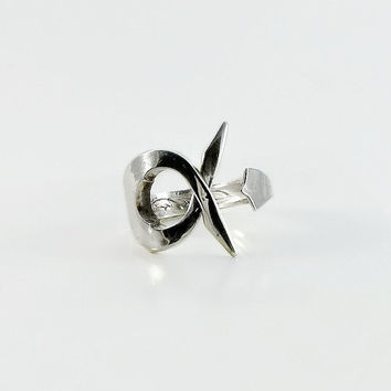 Oneida Fork Ring - Abstract Sterling Silver Ring - Spoon Ring Size 7.5 - Thick Sterling Silver Ring - Pickle Fork Ring