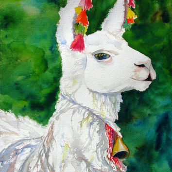 Original Watercolor Painting, White Alpaca Animal, llama, childrens, girls room, boys room, nursery,peruvian art, animal theme, cute,12x16