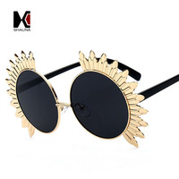 SHAUNA Oversized Sunflower Shape Women Round Sunglasses Fashion Ladies Steet Beat Pink Reflective Glasses