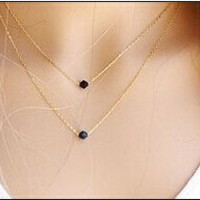 Double Black Crystal Necklaces