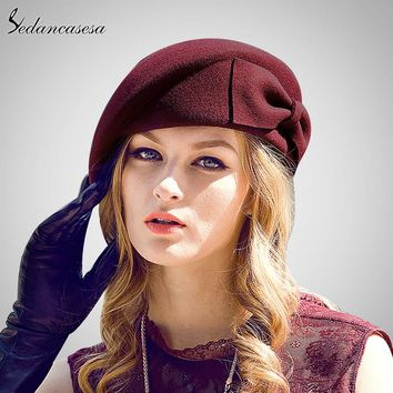 Female Cute British Australian Wool Felt Beret Hat Women French Lady Artist Flat Cap Bow Boina Feminino Hats For Girls Berets
