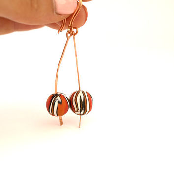 Long Bead Earring, Copper Earring Orange Butterfly Bead