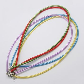 "100Strands Silk Cord for Jwelry Necklace Making with Brass Lobster Clasps, Platinum, Mixed Color, 17""~18"""