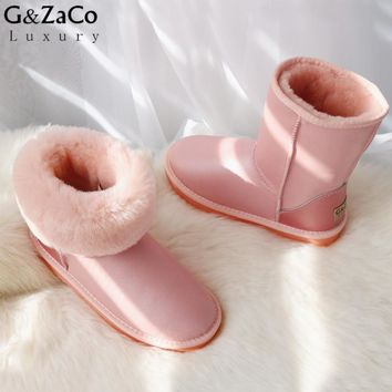 G&Zaco Classic Sheepskin Boots Women Winter Snow Boots Middle Calf Boots Girl Warm Genuine Leather Natural Wool Sheep Fur Boots