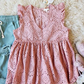 Dusty Poppy Eyelet Top