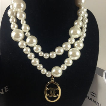 Pearl Necklace W Chanel Charm  (Handmade)