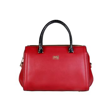 Cavalli Class Burgundy Leather Handbag