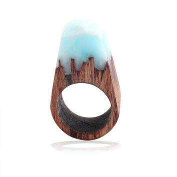 New Arrival Wood Resin Faceted Rectangle Solid color Ring For Women Men Finger Jewelry Gift Drop Shipping