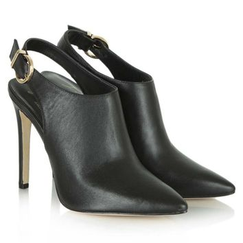 LOLA CRUZ BLACK LEATHER MUSETTA CUT OUT SLING BACK BOOT