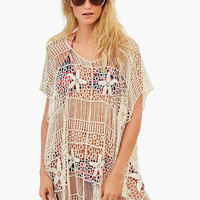 White Floral Crochet Cover-up
