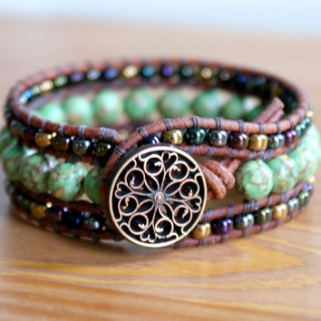Green Beaded Leather cuff, bohemian bracelet, Shabby chic, Mosaic Turquoise, brown, metallic, trendy jewelry, hipster, by OlenaDesigns