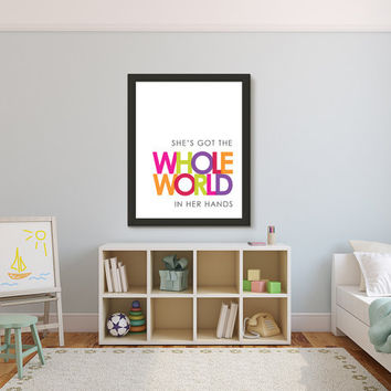 Christian Wall Art, Baby Girl Decor, Canvas Framed or Unframed, Shes Got the Whole World in Her Hands, Nursery Kids Wall Art Room Poster