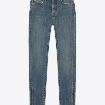 Saint Laurent Original Mid Waisted Ankle Zip Skinny Jean In Dirty Medium Blue Super Stretch Denim | ysl.com