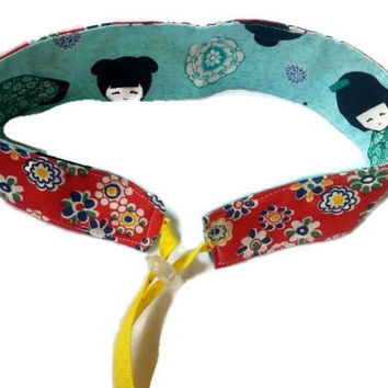 Reversible Fabric Headband - Adjustable Fabric Headband - Girls Headband - Teen Headband - Tween Headband - Red Headband - Summer Headband