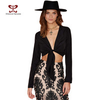A Forever 2017 Spring Crop Tops Deep V-Neck Asymmetrical Long Sleeve Sexy Club Adjustable Tie Fallin Women Tie Front Blouse 667