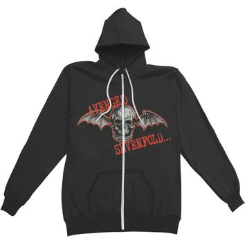Avenged Sevenfold Men's  Death Bat Zippered Hooded Sweatshirt Black
