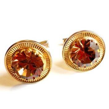 Vintage Topaz Rhinestone Cufflinks - Large Glass Stone - Bold Style - MCM Style - Gold Tone Metal - Amber Orange Brown - Wedding Groom