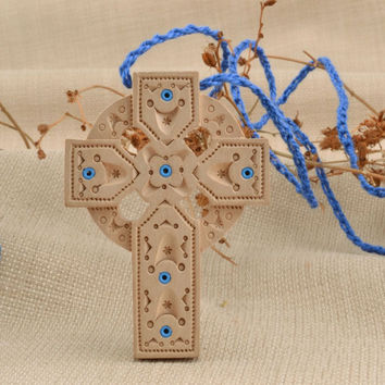 Handmade cross necklace wooden carved inlay carving crucifix pendant amulet