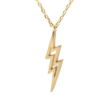 Handcrafted Brushed Metal Lightning Bolt Necklace