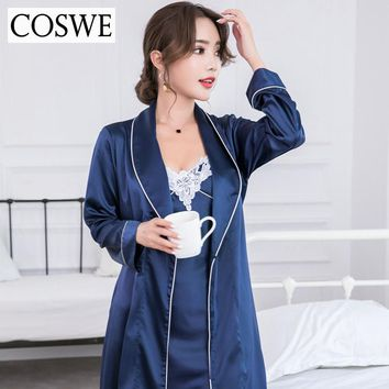 COSWE Women Bathrobe Satin Silk Woman Bathrobes & Gown Sets Female Bath Robe Sexy Womens Robes Ladies Nightdress For Women Robe