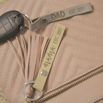 Personalized Leather Strap Keychain