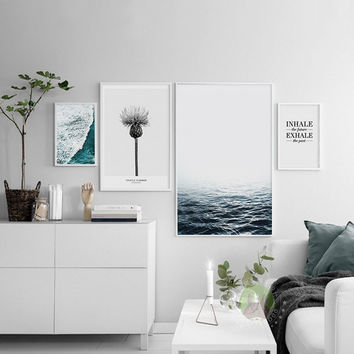 NEW Minimalist Nordic Sea Poster Canvas Wall Art Oil Paintings Pop Print Wall Pictures For Living Room Home Decoration No Frame