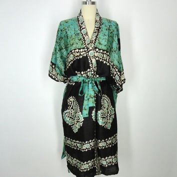 Silk Robe Kimono / Hand Made / Vintage Indian Sari / Green Black Batik Tie Dye Print / Limited Edition