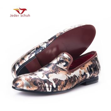 Jeder Schuh New men flats shoes with camouflage printing Luxurious British style men smoking slippers big size male loafers
