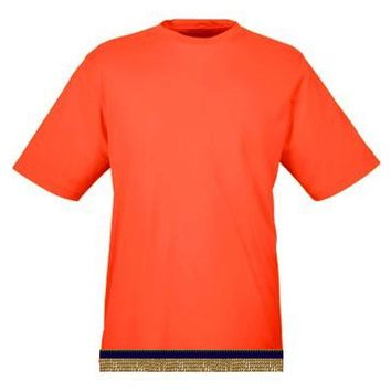 Bright Orange Workout Performance T-shirt With Fringes