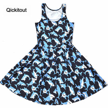 Drop ship New dress Girls Slim Women Dress Digital Print Submarine shark jump dress Summer Sleeveless Beach DRESS vestidos