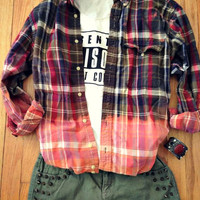 Flannel Multi Color Plaid Button Up Shirt Grunge Bleach Dye Dipped Oversized 90s Vintage vibe Lumberjack Slouchy Upcyled Mens Womans M L XL