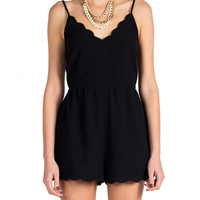 Lush Clothing - Scalloped Cut Out Back Romper - Black