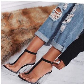 New women gladiator sandals ladies pumps high heels shoes woman Clear Transparent T-strap party wedding dress thick Crystal heel