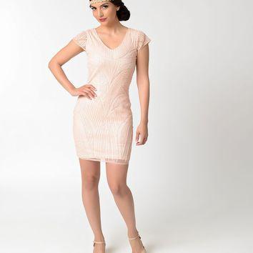 5c0d3bea458 1920s Style Peach   Light Pink Sequin Cap Sleeve Short Flapper Dress