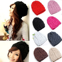 Lady Women Knit Winter Warm Crochet Hat Braided Baggy Beret Beanie Cap Hat = 1929705668