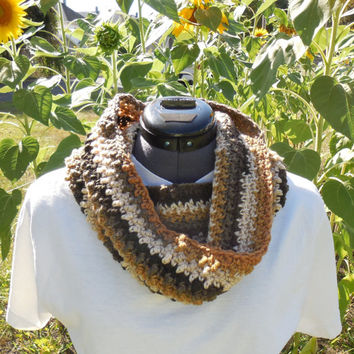 Textured Cowl Scarf, Crochet Loop, Neck Warmer Scarf, Beachwood Stripes
