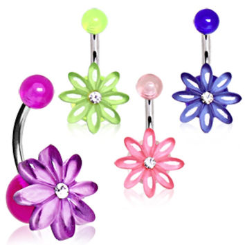 UV Acrylic Clear Gem Daisy Flower Navel Ring