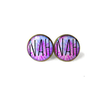 Pastel Goth Pastel Tie Dye NAH Hearts Stud Earrings - Funny Antisocial Soft Grunge Pastel Goth Radical Jewelry