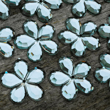 Faceted Mirror Vintage Style Flower Cabochons Buttons Embellishments 12pcs Acrylic Jewellery Findings Jewellery Making diyforstyle