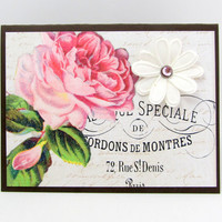 Pink Rose Card - Any Occasion - Vintage Style - French Script - White Paper Flower - Blank - Shabby Chic