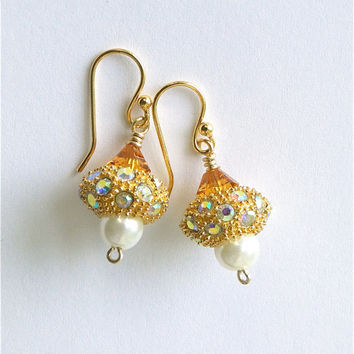 Topaz Acorn. Swarovski crystal earrings. White pearl dangle. GP ear wire.