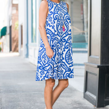 Never Too Busy Dress, Ivory-Royal