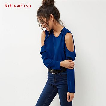 2018 Women Summer Chiffon Blouses Shirts Lady Girls Casual Off Shoulder Long Sleeve Ruffles O-Neck Blusas Plus Size S-6XL DF1055