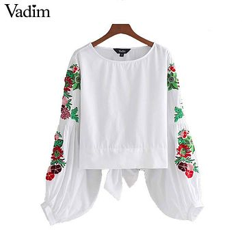 Sweet floral embroidery white shirts lantern sleeve back bow tie blouses ladies casual tops