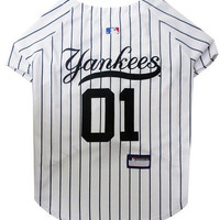 New York Yankees Baseball Dog Jersey Large